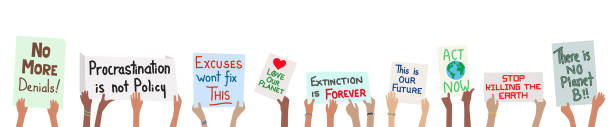 Banner of school children holding climate change protest signs in hands Banner of school children holding climate change protest signs in hands - vector grouped easy to edit climate change stock illustrations
