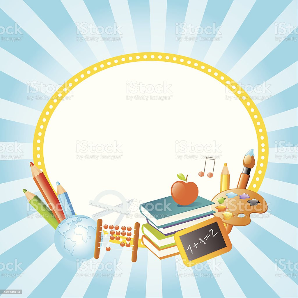 Banner of school supplies on blue background royalty-free stock vector art