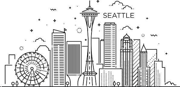 Banner of Seattle city in flat line trendy style. Seattle city line art.