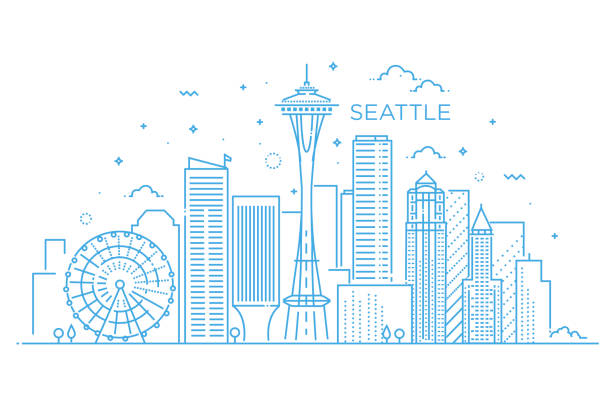banner of seattle city in flat line trendy style. seattle city line art. - seattle stock illustrations