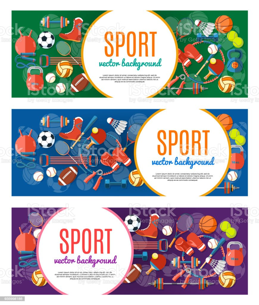 Banner of sport balls and gaming equipment. Poster with text Sport for banner, sticker, web. Healthy lifestyle tools, elements. Vector Illustration. vector art illustration
