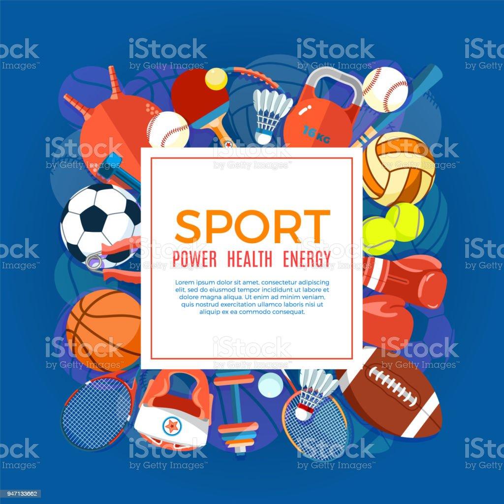 79ab1f579 Bandeira do esporte bolas e equipamento de jogo. Cartaz com texto esporte  para banner