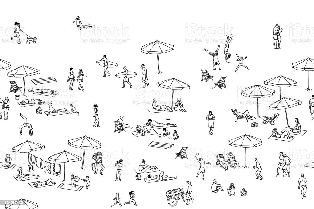 Banner of tiny people at the beach vector art illustration