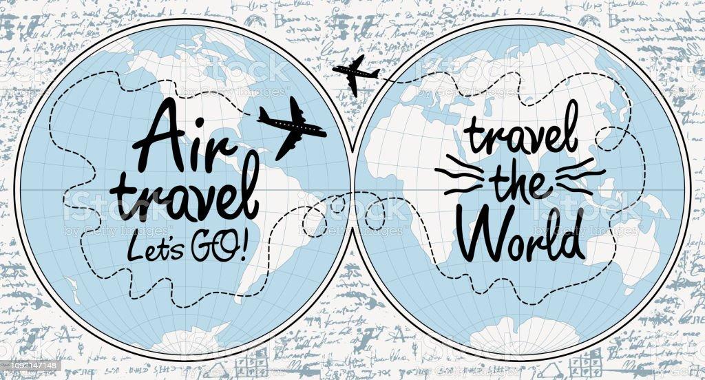 Banner en el tema de los viajes aéreos con mapa del mundo - ilustración de arte vectorial