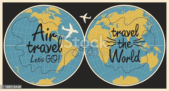 Vector banner with handwritten inscriptions Air travel and Travel the world. Flat illustration with world map and airplanes on the black background in cartoon style.