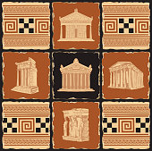 Vector banner on the theme of Ancient Greece in the form of a set of stone tiles, clay or ceramic tiles. Illustrations with Greek ornaments and famous architectural attractions in retro style.
