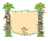 Template background with banner on two high palm tree and small funny monkeys and tiger. Children vector illustration