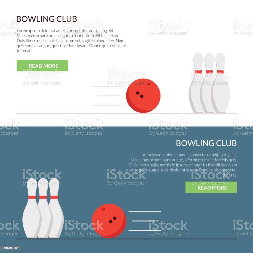 Banner or cap for the site of a bowling club set isolated on a colored background in a flat style. vector art illustration