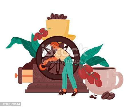 istock Banner or card design for coffee shop or cafe flat cartoon vector. 1282670144
