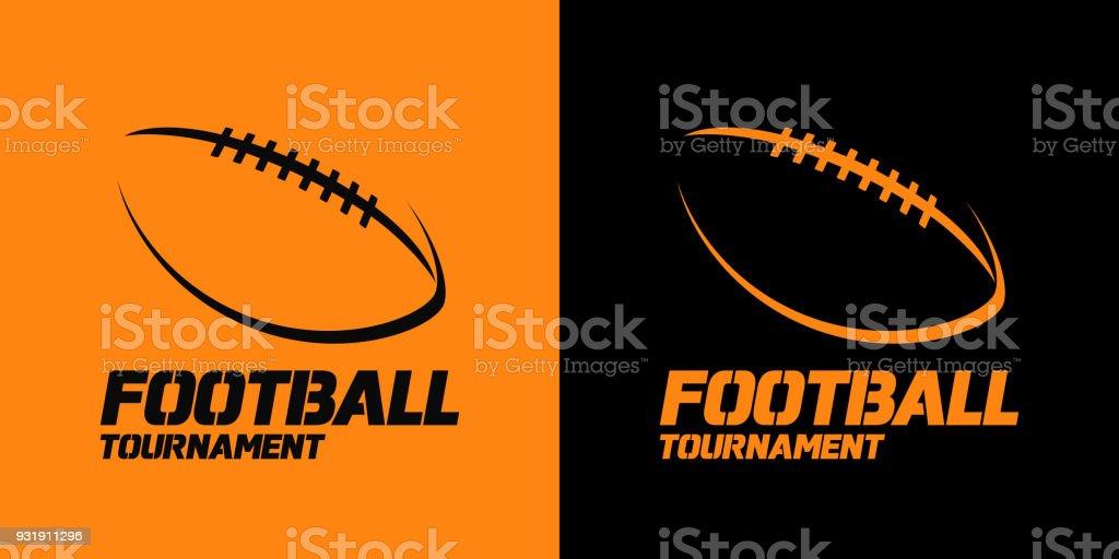 Projeto de bandeira ou emblema com o ícone de silhueta de bola de futebol americano - Vetor de Amarelo royalty-free