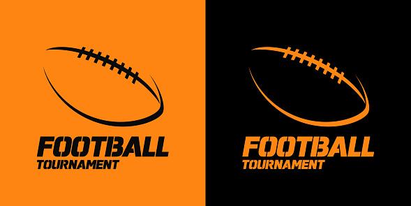 Vetores de Projeto De Bandeira Ou Emblema Com O Ícone De Silhueta De Bola De Futebol Americano e mais imagens de Amarelo