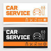 Banner or flyer design with car service icons