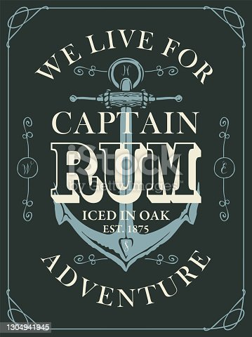 istock banner or label for Rum decorated with anchor 1304941945