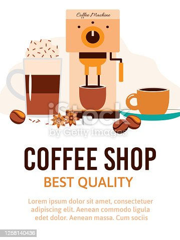 istock Banner or poster for coffee shop cafe or store cartoon vector illustration. 1258140436