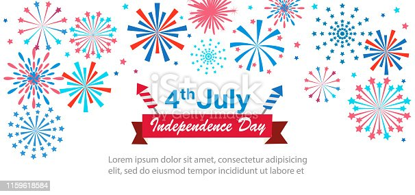 Banner or poster with fireworks for celebrate the national day of USA. Happy 4th of July Independence Day card. US flag colors, fireworks, greeting text. vector illustration - Vector