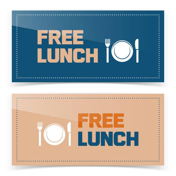 banner oder ticket-design mit umsonst-symbol - mittagessen stock-grafiken, -clipart, -cartoons und -symbole