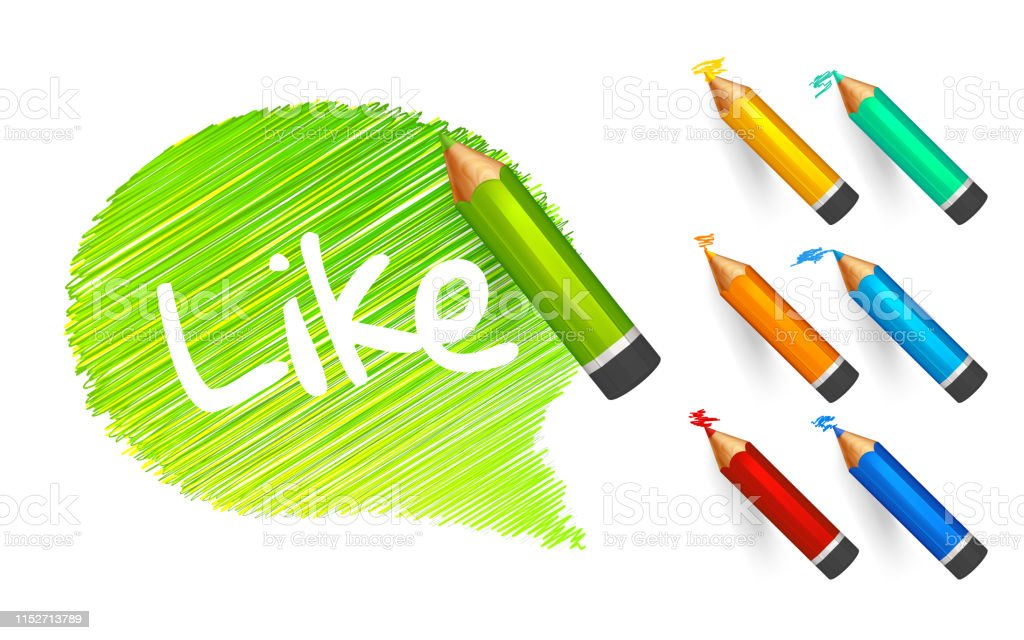 Banner paint with pencils. Hand drawn green speech bubble with...
