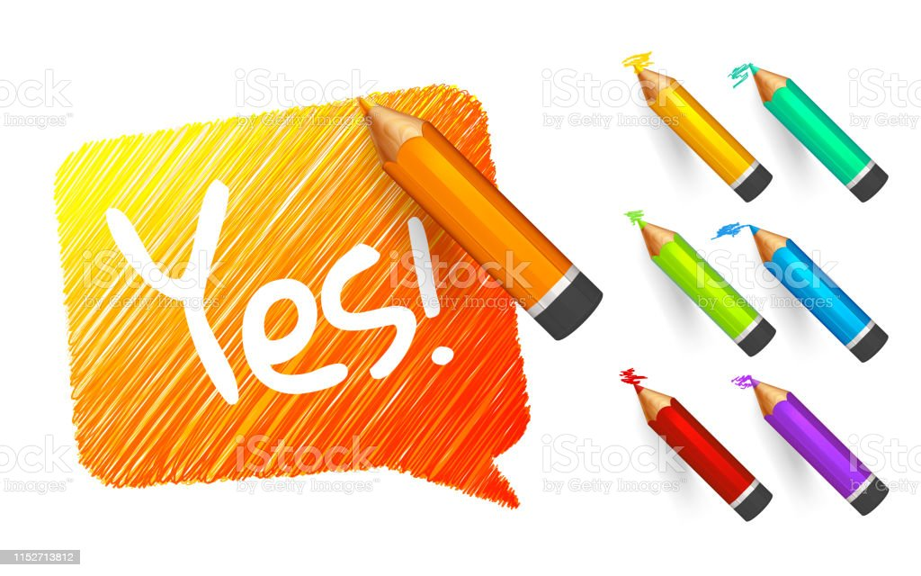 Banner paint with pencils. Hand drawn orange speech bubble with...