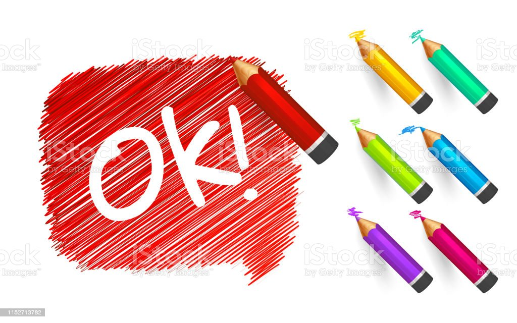 Banner paint with pencils. Hand drawn red speech bubble with doodles,...