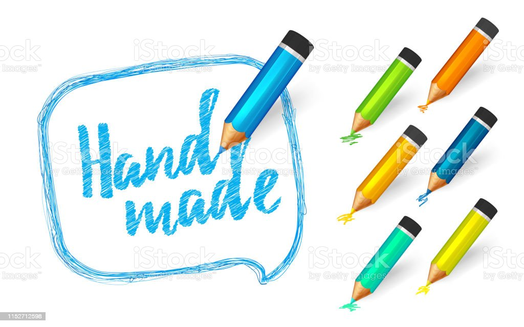 Banner paint with pencils. Hand drawn speech bubble with doodles, set...