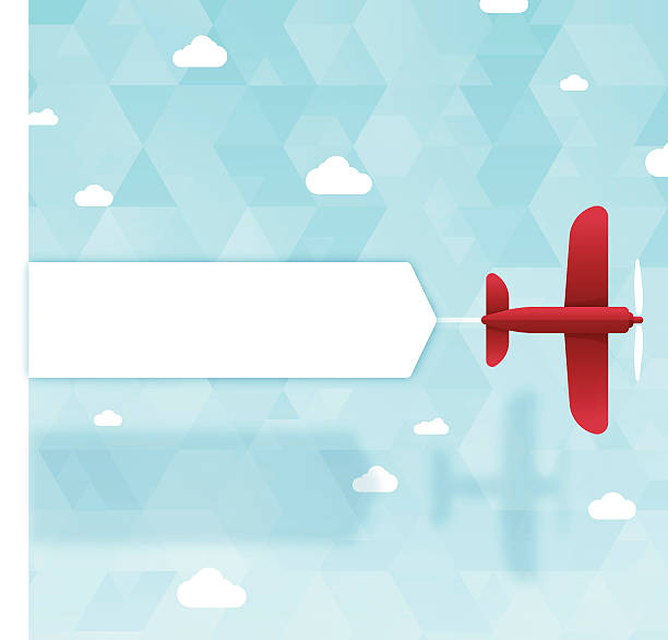 Banner Plane Plane towing banner with space for copy. EPS 10 file. Transparency effects used on highlight elements. aviation and environment summit stock illustrations