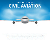 Banner, poster, flyer with Airplane background. Plane in blue sky, civil aviation airliner. Commercial airliner travel concept design. Vector illustration