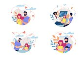 Banner Shows Process Formation Family with Feelings and Romance Between Man and Woman, Pregnancy, Childbirth before Formation Full Fledged Family with Healthy Children Cartoon. Vector Illustration.