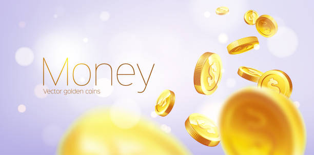 banner realistic gold coins flying. purple background. - dostatek stock illustrations