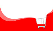 banner red and white copy space for shopping online, icon cart on banner template ad, basket purchase in online shop background, trolley cart symbol for banner e-commerce, cart simple flat advertising