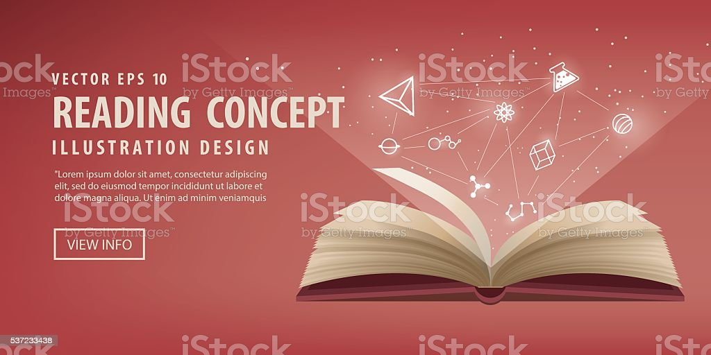 Banner red book open, the icon refers to knowledge vector. vector art illustration