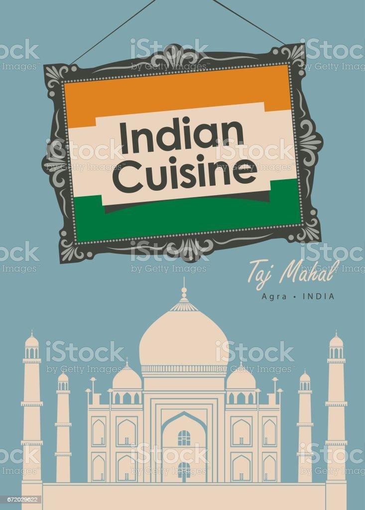 Restaurante Cocina India Con Taj Mahal De La Bandera - Arte ...