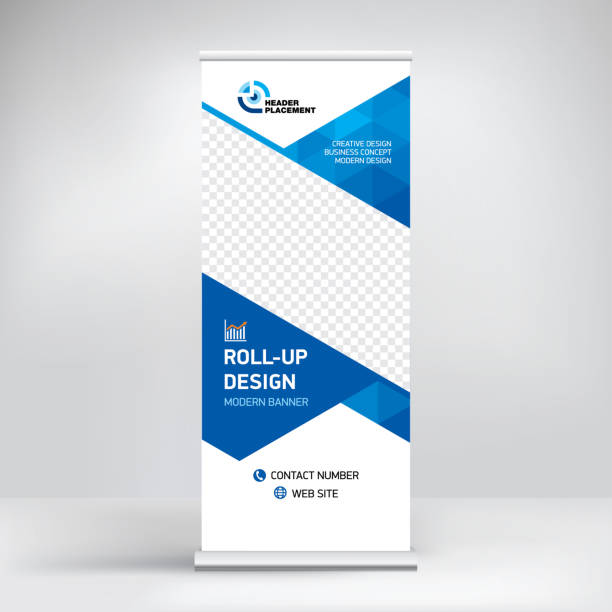 Banner, roll-up design background for placing advertising information. Template for exhibitions, presentations, conferences, seminars, modern abstract style for the promotion of goods and services. EPS 10 blue drawings stock illustrations