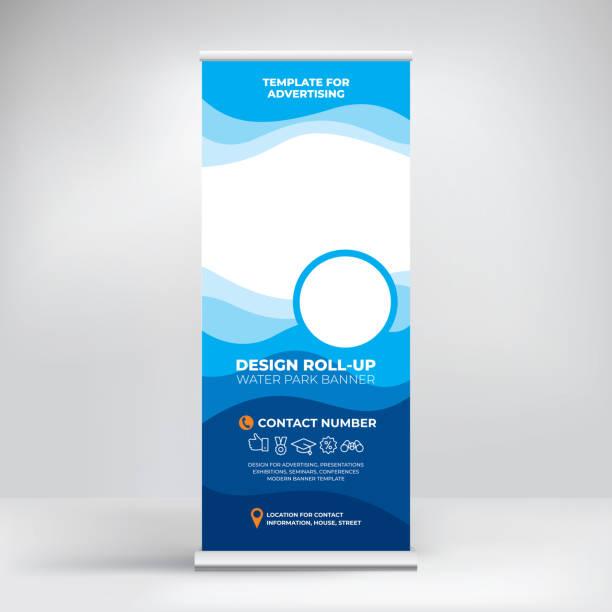 bildbanksillustrationer, clip art samt tecknat material och ikoner med banner roll-up för vatten park, kreativt koncept för presentationer och reklam, mall för utstationering bilder och text. modern blå bakgrund med havs vågor - pool