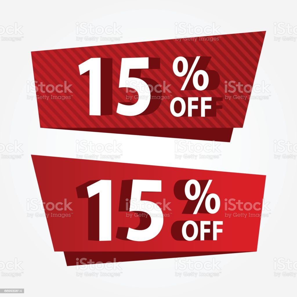 Banner Sale Promotion Template Price Tag Vector Discount 15