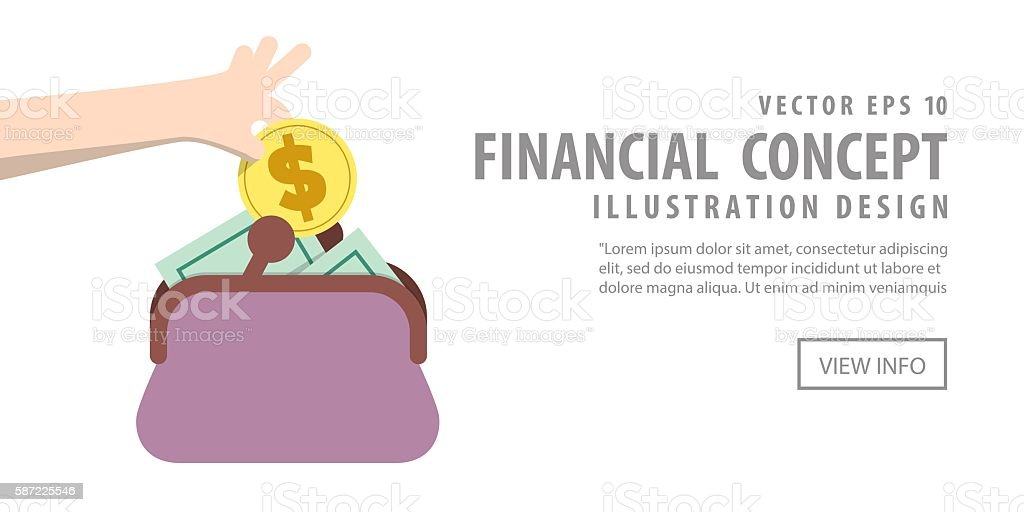 Banner Saving Money and spending with purse illustration vector. vector art illustration