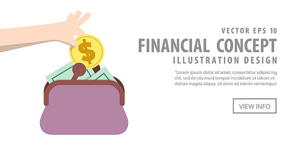 Banner Saving Money and spending with purse illustration vector. Illustration vector Banner Saving Money and spending with purse. Finance Concept. change purse stock illustrations