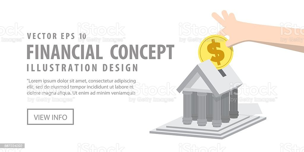 Banner Saving money with the bank illustration vector. vector art illustration