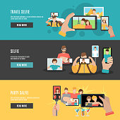 Travel and party selfie with friends interactive webpage 3 flat horizontal banners set abstract isolated vector illustration