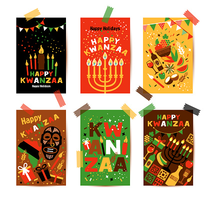 Banner set for Kwanzaa with traditional colored and candles representing the Seven Principles or Nguzo Saba.