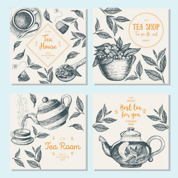 Banner set for tea shop. Teahouse square banner collection. Linear graphic Banner set for tea shop. Teahouse square banner collection. Linear graphic tea room stock illustrations