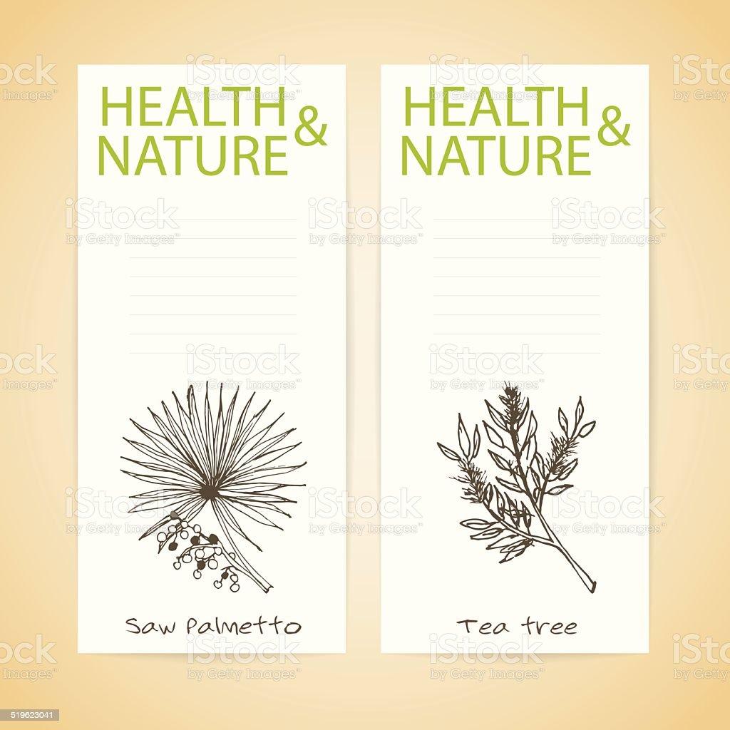 Banner Set - Health and Nature vector art illustration