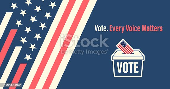 Vector of Illustrated Ballot box and vote paper with the flag of USA. EPS Ai 10 file format.