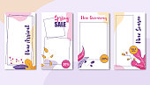 Banner Set of Special Trade. Coupons and Vouchers on New Arrival, Spring Sale, New Giveaway, Special Offer for New Season Sale 20, 20, 30 Percent. Floral Ornament on Discounts and Promotional Flyers