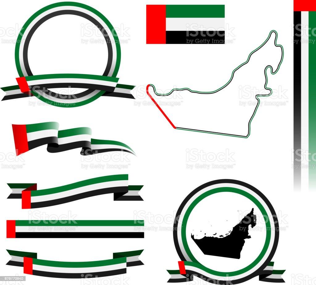 阿聯酋旗幟套裝 - 免版稅中東圖庫向量圖形