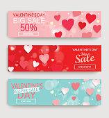 Sale Header, Banner, Valentine, Valentines Day, Card, Background, Sale, Discount, Heart, Pink, Red, Blue Vector, Illustration, February