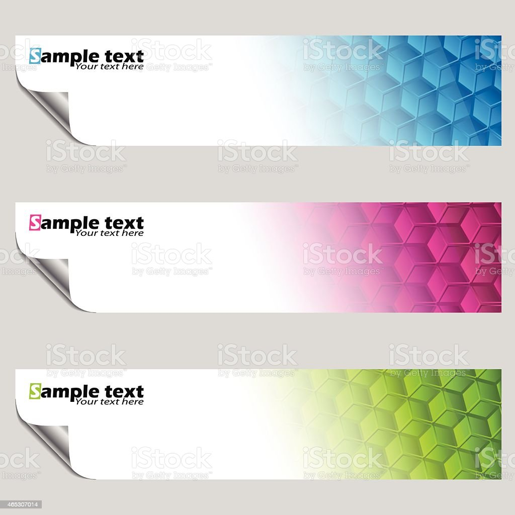 Banner set with peeled corners vector art illustration