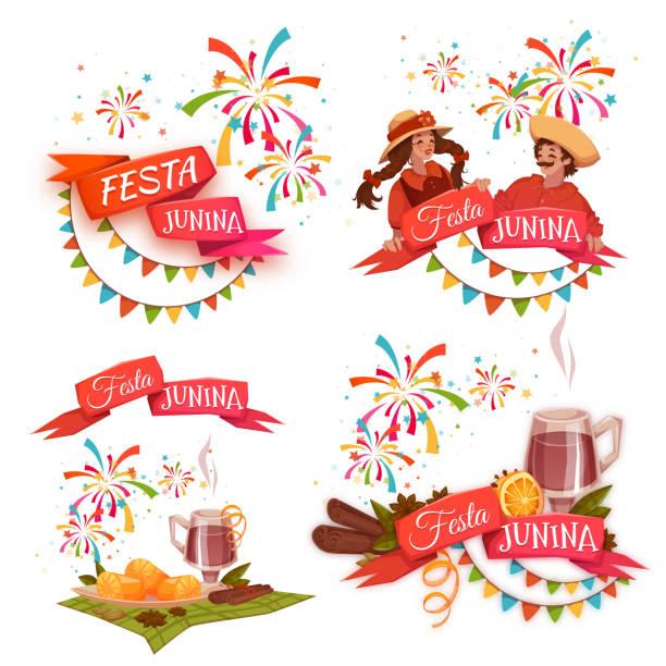 ilustrações de stock, clip art, desenhos animados e ícones de conjunto de banners com fitas para festa junina brasil parte. vetorial - douro