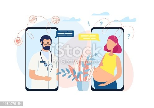 Banner  Shows Process Dialogue Between Doctor and Pregnant Client, who has Problems, Question Related to Fetus. Doctor Patiently Explain Functioning Body Systems, Such as Babys Heartbeat, Dna.