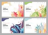 Banner, site, poster floral template, landing page with place for your text. Leaves vector background.