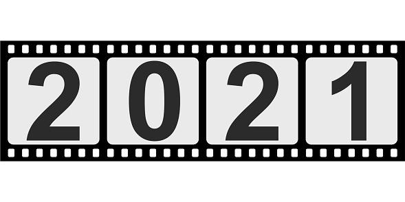 banner slide 2021 happy new year retro style, photo film slide vector photo film negative slide 2021
